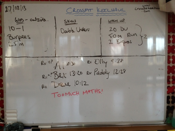 Tues 27 Aug - 10-1 Burpee/ Sprint